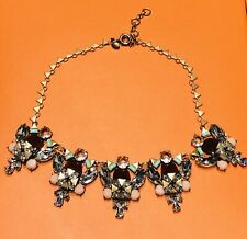 J. Crew Gold Tone Pink Green Crystal Necklace