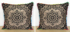 """2 Pc.24X24"""" Square Cushion Cover Black Gold Room Sofa Decorative Pillow Covers"""