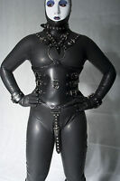 Black Full Body leather Costume with Cuffs, uk shipping, gimp, fancy dress.