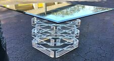 VTG LUCITE ACRYLIC BLOCK STACKED BEVELED DINING GAMING TABLE GLASS TOP