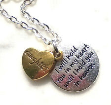 DAUGHTER In HEAVEN Necklace Hold You In My Heart Two Tone Charms In Memory