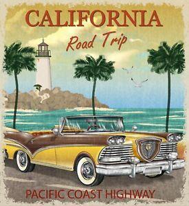 "Reproduction ""California Road Trip"" Vintage Wall Art Poster"