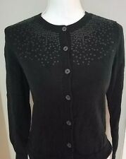 Gap Sweater Cardigan Button Beaded Black 100% Cotton Womens S/ M