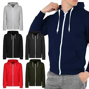 New Mens Plain Coloured Zip Up Hoodie Hooded Jacket  Warm Sweatshirt Xmas Tops