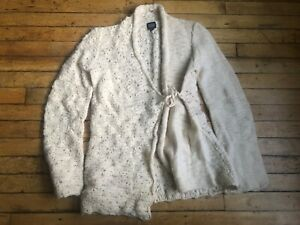 Women's Eileen Fisher Open Front Two Material Tie Wrap Cardigan Sweater (Sz PS)
