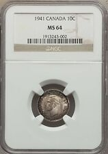 1941 Canada 10 Cents NGC MS 64
