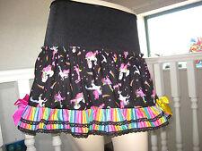 Unicorns Rainbow striped Skirt Black Lace Adult Festival Party Lolita Holiday GB