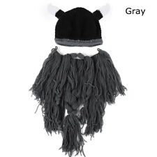 Men Fashion Viking Beard Hat Barbarian Vagabond Knit Cool Beanie Horns Beard Cap