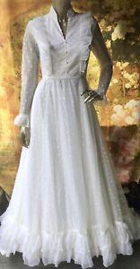 Vintage 1970's Wedding Dress  Frilly Lace Edwardian Gunne Sax Style S
