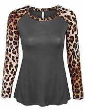 *CLEARANCE* Women's Leopard Print Raglan Long Sleeve Casual Tops T Shirt SML
