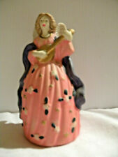 """Angel Bell Playing Lute Pink Ivory Wings Ceramic 5.5"""" x 3.5"""" Angel Collectors"""