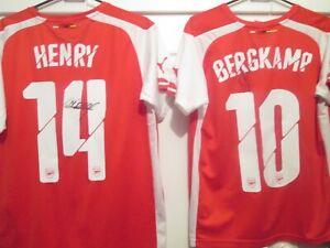 Bergkamp and Henry Arsenal signed shirts