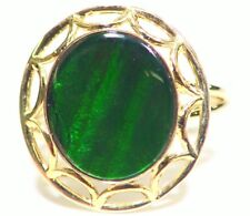 Vintage 14K Solid Gold Natural Ammolite Cocktail Engagement Ring Jewelry 4.06CT