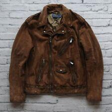 New Polo Ralph Lauren Suede Motorcycle Jacket Size L Brown Leather Biker Moto