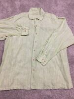 Tommy Bahama Mens 100% Linen Green and White Vertically Striped Long Sleeve XL