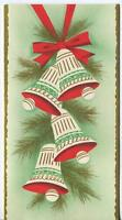 VINTAGE CHRISTMAS WHITE RED GREEN GOLD BELLS PINE NEEDLES ILLUMINATED ART CARD
