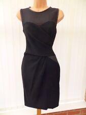 COAST BLACK SHEER CHIFFON FAUX LEATHER TRIM PENCIL DRESS ONCE 8 £145 STUNNING