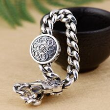 925 Sterling Silver Spinning Tibetan Mantra Om Lotus Vajra Bracelet Women A2896