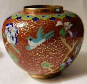 Vintage CLOISONNE Vase -  Hand Made- Gold Wire, Enamel  Japan possible Antique