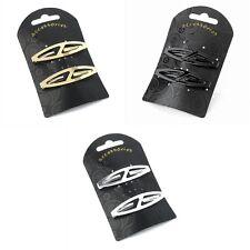 Pair of Shaped Un-Sprung Barrette Hair Clips Slides 6cm - Colour / Shape Choice
