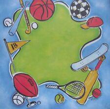 """12X12"""" Scrapbook Paper Bats and Balls Hockey Scateboard Golf Football Soccer"""