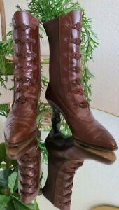 Vtg STUART WEITZMAN Sz 7 brown Victorian Granny Steampunk sock boot EUC