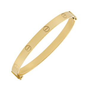 "9ct Yellow Gold Polished Screw Bangle - 6mm- 6.75""- Ladies Size RRP £580 (TB4_L)"