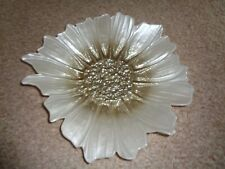 Flower shaped decorative glass plate bowl silver