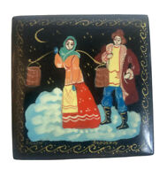 "Russian Hand Painted Lacquer Trinket Box Signed 2""x2 1/4"" Theme fairytales Poems"