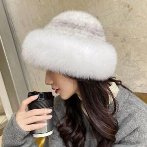 Women's Real Mink Fur Hat Knitted Stretch Cap Bucket Beanies Fox Fur Trim Bowler