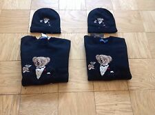 Polo Ralph Lauren Men's Martini Tuxedo Bear Sweater and Matching Skully Hat XL
