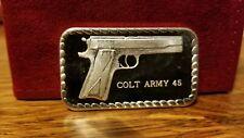 COLT ARMY 45 SILVER ART BAR 1 OZ .999 FINE SILVER