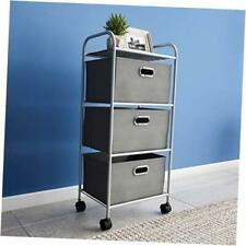 Portable Rolling 3 Fabric Bin Storage Cart With Wheels And Metal 3 Drawer