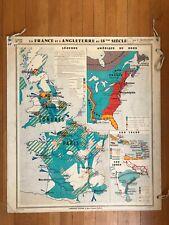 Carte Affiche scolaire Trotignon no Vidal France Angleterre au 18ème Siècle