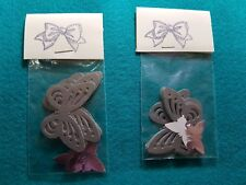 """8 PEARLESCENT BUTTERFLY CARD EMBELLISHMENTS SILVER  2 """" [5 CM] ACROSS"""