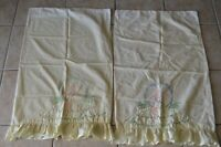 Vintage Pillowcases Lot of 2 Embroidery Ruffle Yellow Southern Belle Bed Linens