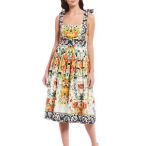 Antonio Melani Kelsey Printed Tigerlily Floral Cotton Sleeveless Dress size 2