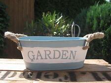 """Shabby Jardiniere """"GARDEN"""" blau weiß Pflanzschale Blumentopf maritim Blumen"""