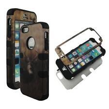 For Apple Iphone 5S Hybrid  Blk Strip Buck Deer Hard Soft Cover Case
