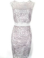 Women's Karen Millen Cutwork Embroidered Shift Dress floral silver UK Size 14