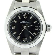 Mujer Rolex Acero Inoxidable Oyster Perpetual Reloj W / Negro Números Arábigos