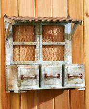 RUSTIC 3 DRAWER WALL PLANTER POT PLANTING BOX VINTAGE COUNTRY OUTDOOR HOME DECOR