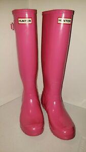 Hunter Original Womens Size 7 Medium Tall Gloss Rain Boots PINK GLOSSW