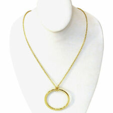 """Solid 14K Italian Gold Open Circle Necklace 22"""" with lobster claw closer NEW"""