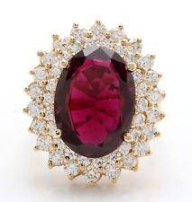 7.57 Quilate Natural Morado Turmalina y Diamantes en 14K Oro Amarillo de Mujer