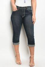 Women's Plus Size Dark Denim Capri Pants 2XL NWT