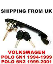 HANDLE + DOOR LOCK SET FRONT LEFT RIGHT BARREL 2 KEYS VW POLO MK3 6N1 6N2 56mm