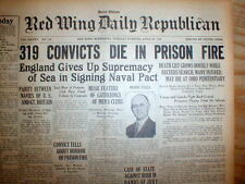2 1930 headline newspapers Worst Prison Fire DISASTER n US history COLUMBUS Ohio