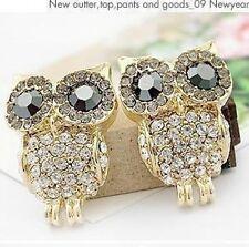 2pair Fashion big Charm Black Eye sparkling full rhinestone owl stud earring 17g