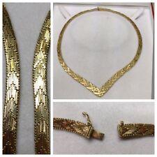 Hermosa Antiguo collar 925 Plata Cadena de plata collar de plata bañado en oro